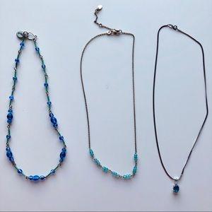 Set of 3 Dainty Beaded Blues & Aquas Necklaces